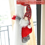Load image into Gallery viewer, Santa Claus Elk Windows Christmas Curtain Decor