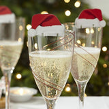 Load image into Gallery viewer, Christmas Champagne Glass Decorations Hats 10pcs/lot