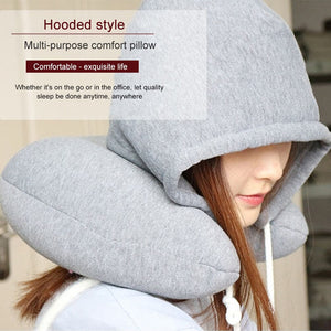 Travel Hooded U-Shaped Pillow