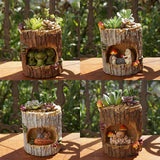 Load image into Gallery viewer, Cartoon Tree House Animals Flowerpot