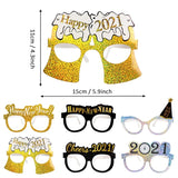 Load image into Gallery viewer, 6pcs Happy New Year Glitter Paper Glasses