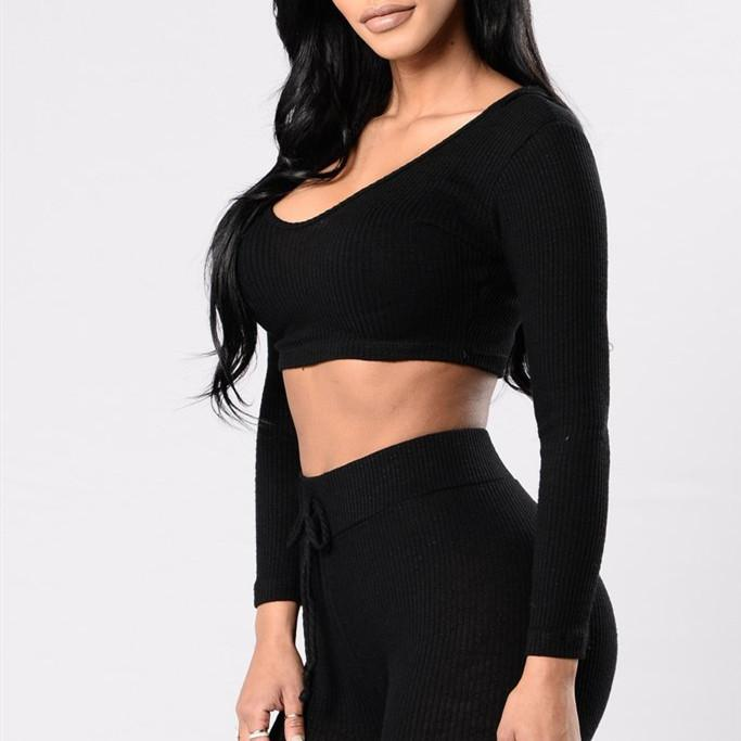 Bodycon Knitted Sportswear Set Cloth InspirExpress