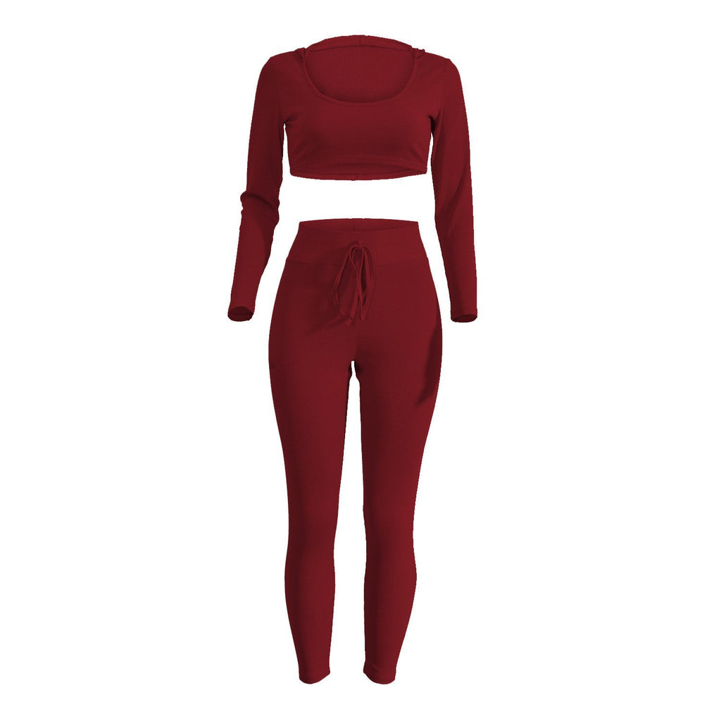 Bodycon Knitted Sportswear Set Cloth InspirExpress S Dark Red