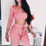 Bodycon Knitted Sportswear Set Cloth InspirExpress S Pink