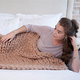 Chunky Knit Throw Blanket Blanket InspirExpress 40x47 Inches Khaki
