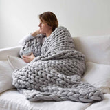 Chunky Knit Throw Blanket Blanket InspirExpress 40x47 Inches Light Gray