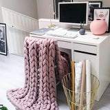 Chunky Knit Throw Blanket Blanket InspirExpress 40x47 Inches Light Purple