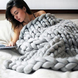 Chunky Knit Throw Blanket Blanket InspirExpress