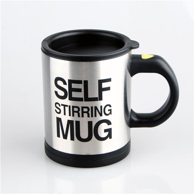 Creative Stainless Steel Self Stirring Mug Mug GEEKS1024 400ml Black