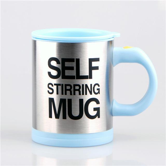 Creative Stainless Steel Self Stirring Mug Mug GEEKS1024 400ml Light Blue
