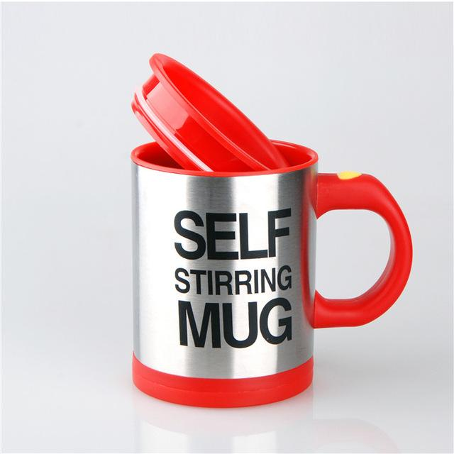 Creative Stainless Steel Self Stirring Mug Mug GEEKS1024 400ml Red