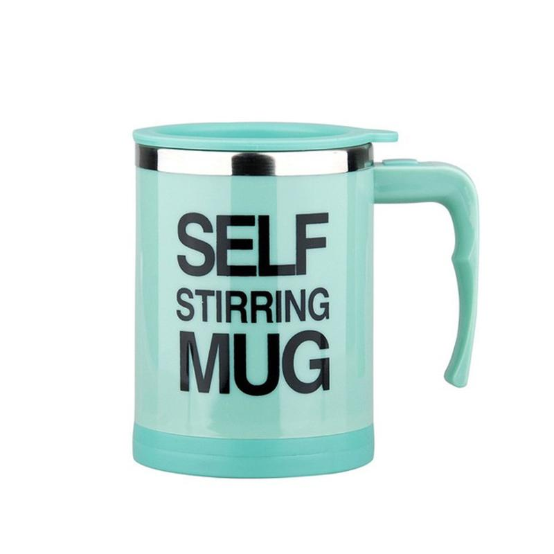 Creative Stainless Steel Self Stirring Mug Mug GEEKS1024 400ml Upgrade Green 400ml