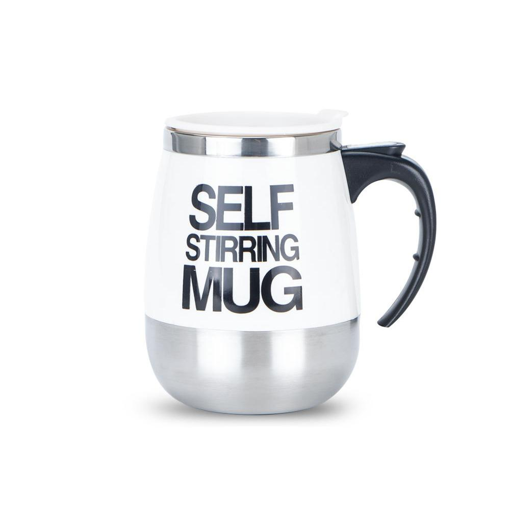 Creative Stainless Steel Self Stirring Mug Mug GEEKS1024 450ml White 450ml
