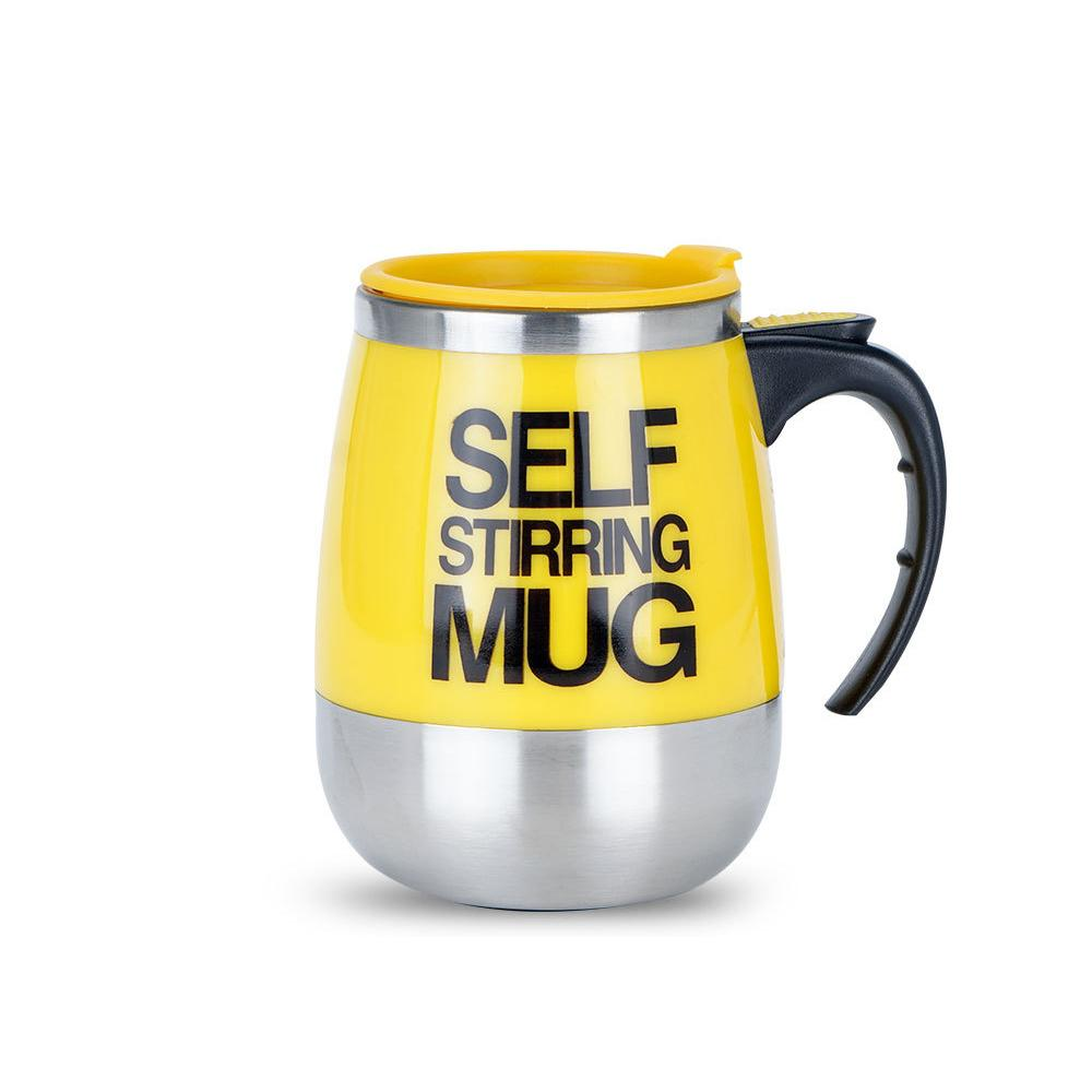 Creative Stainless Steel Self Stirring Mug Mug GEEKS1024 450ml Yellow 450ml