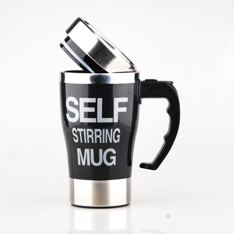 Creative Stainless Steel Self Stirring Mug Mug GEEKS1024 500ml Black 500ml