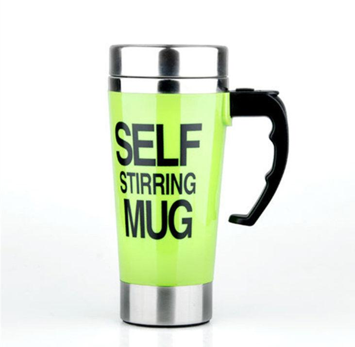 Creative Stainless Steel Self Stirring Mug Mug GEEKS1024 500ml Green 500ml