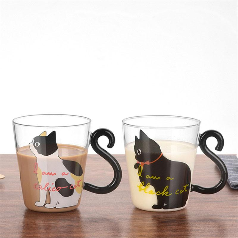 Cute Cat Glass Mug Mug InspirExpress 1 Black cat + 1 White cat
