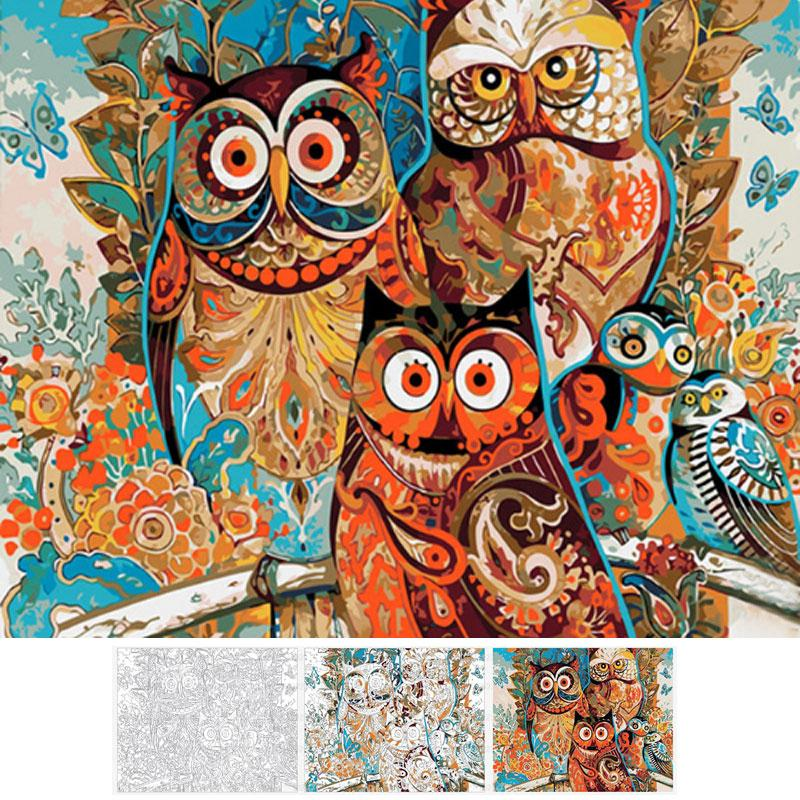 Family Owl Painting By Numbers Painting InspirExpress