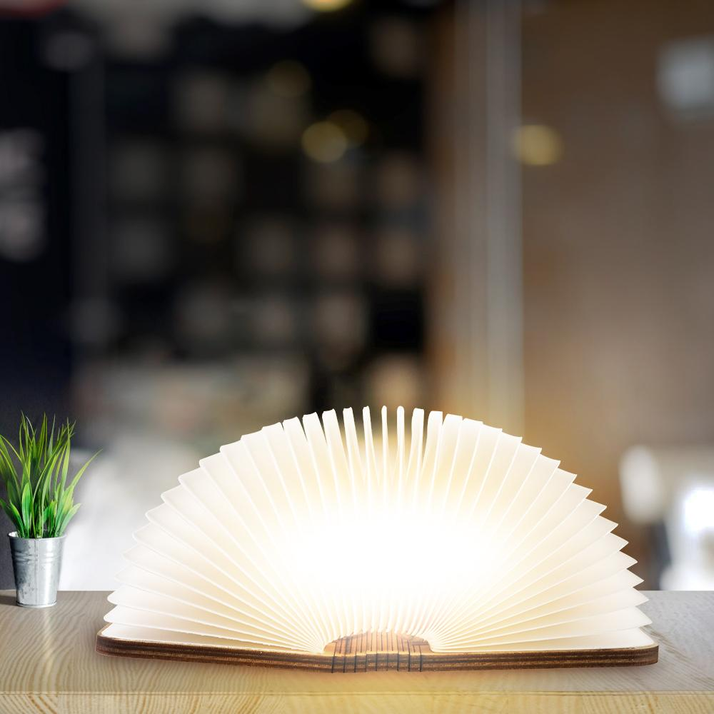 Foldable Wooden Book Lamp Lamp InspirExpress Mini Natural Wood