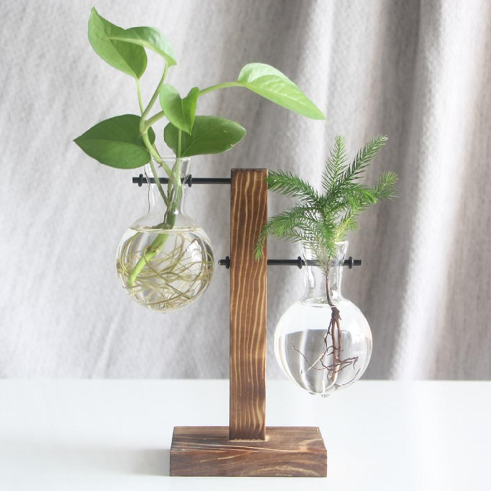 Glass and Wood Plant Hanging Pots Plant Pot InspirExpress 2 Pots Style 1