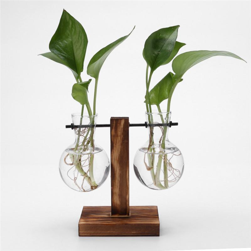Glass and Wood Plant Hanging Pots Plant Pot InspirExpress 2 Pots Style 2