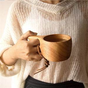 Handmade Rubber Wooden Mug Mug InspirExpress Double Holes