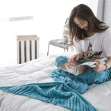 Load image into Gallery viewer, Knitted Mermaid Tail Blanket Blanket InspirExpress 60x140CM Blue