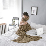 Load image into Gallery viewer, Knitted Mermaid Tail Blanket Blanket InspirExpress 60x140CM Coffee