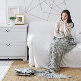 Load image into Gallery viewer, Knitted Mermaid Tail Blanket Blanket InspirExpress 60x140CM Gray