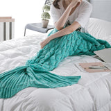 Load image into Gallery viewer, Knitted Mermaid Tail Blanket Blanket InspirExpress 60x140CM Green