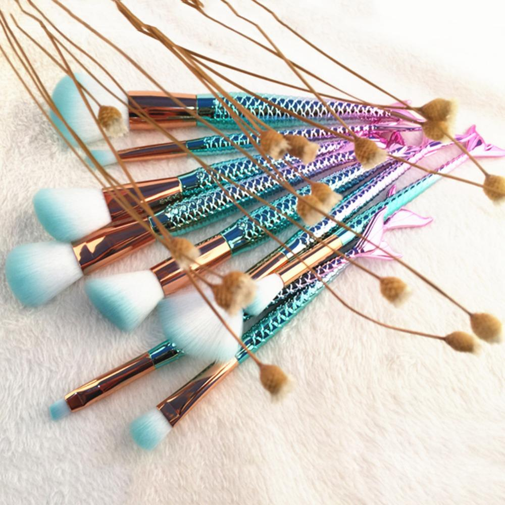 Mermaid Make Up Brushes Set Brushe InspirExpress