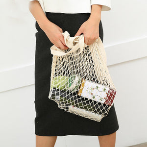 Mesh Woven Grocery Bag Bag InspirExpress Beige