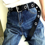 Metal Hole Canvas Belt Belt GEEKS1024 Black