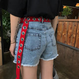 Metal Hole Canvas Belt Belt GEEKS1024 Red