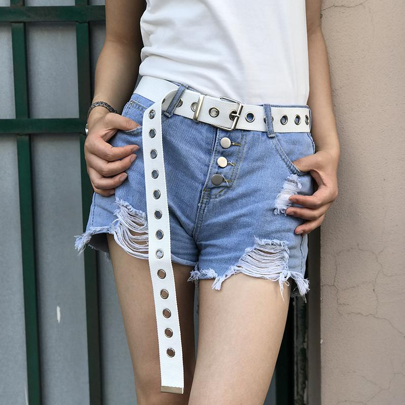 Metal Hole Canvas Belt Belt GEEKS1024 White