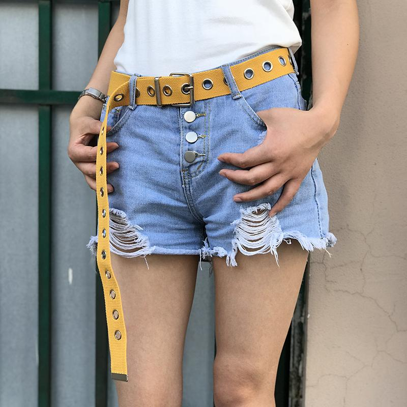 Metal Hole Canvas Belt Belt GEEKS1024 Yellow