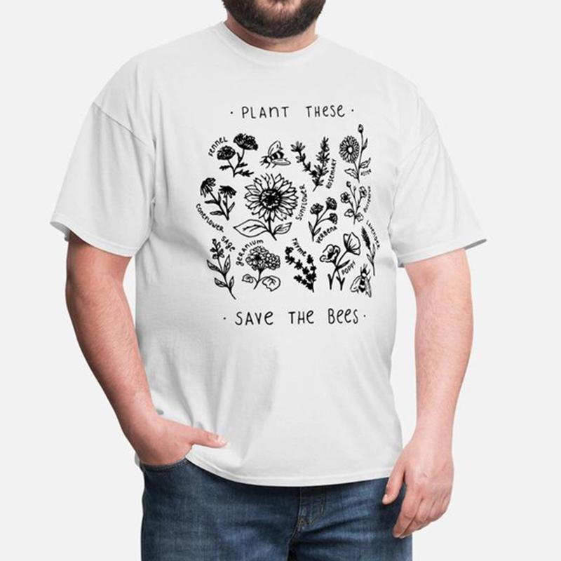 """Plant These, Save the Bees"" T-shirt Tee InspirExpress S White"
