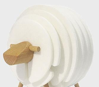 Sheep Shaped Felt Coasters Decor InspirExpress White Sheep