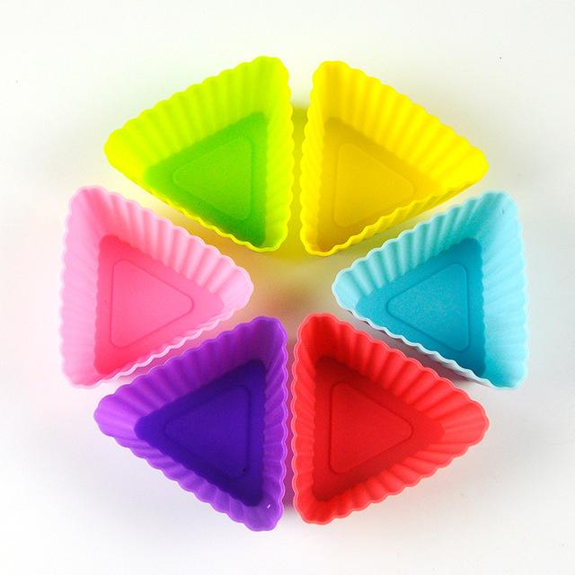 Silicone Cupcake Molds 12Pcs Cupcake Molds InspirExpress Triangle