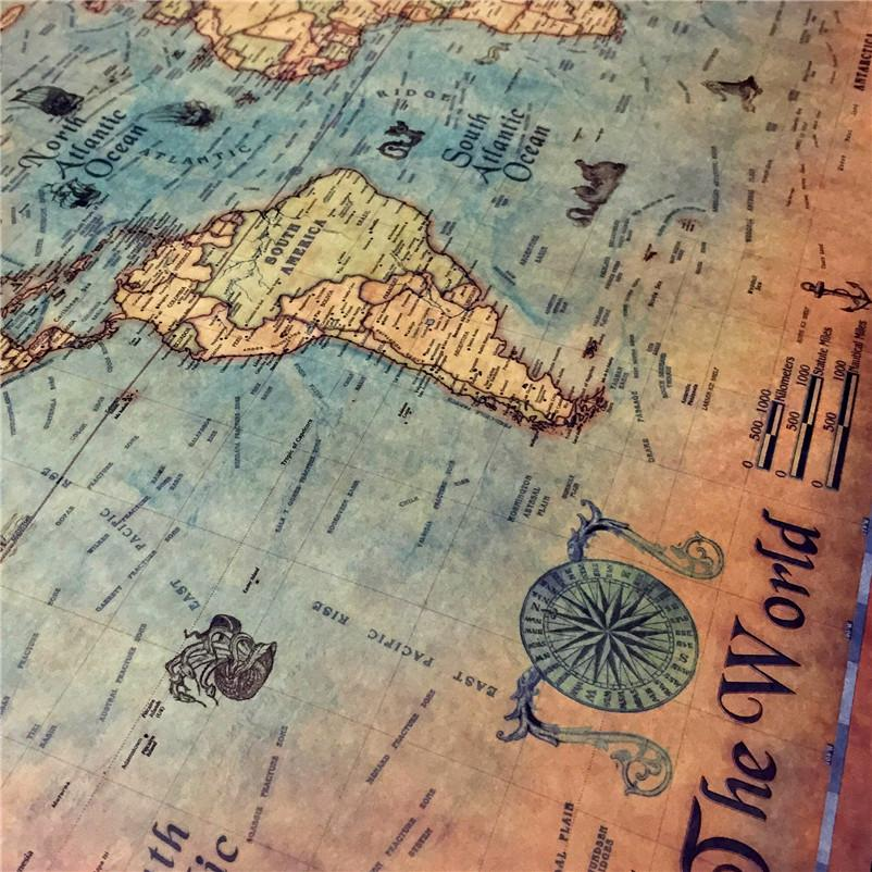 Vintage Nautical World Map Poster Map GEEKS1024