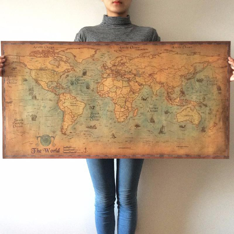 Vintage Nautical World Map Poster Map GEEKS1024 style 1