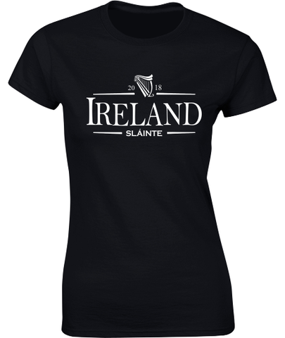 'Ireland 2018 Sláinte' T-Shirt - Ladies Crew Neck