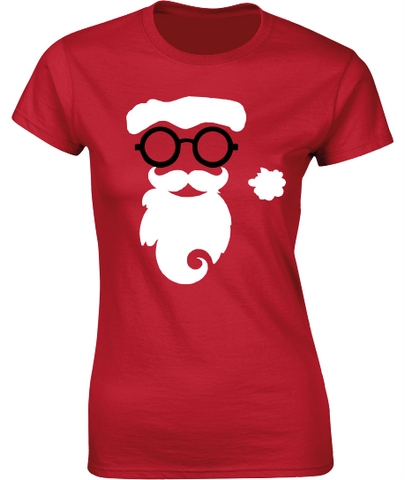 Hipster Santa - Christmas T-Shirt - Ladies Crew Neck