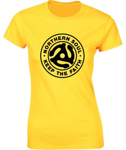 Northern Soul, 45 Adaptor T-Shirt (a) - Ladies Crew Neck
