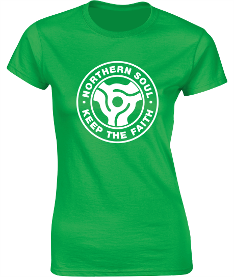 Northern Soul, 45 Adaptor T-Shirt (b) - Ladies Crew Neck