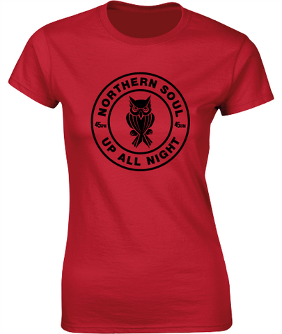Northern Soul, Up All Night, Night Owl T-Shirt - Ladies Crew Neck