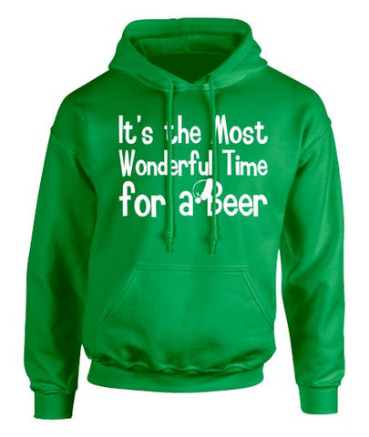 The Most Wonderful Time For a Beer  Christmas Hoodie - Adult