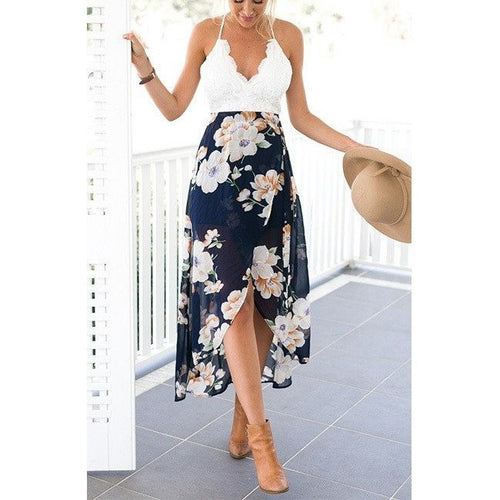 Print Lace Long Dress