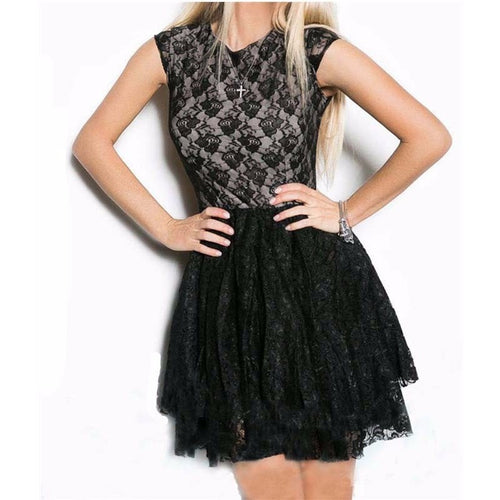 Black O-neck Mini Lace Party Dresses - Womozon