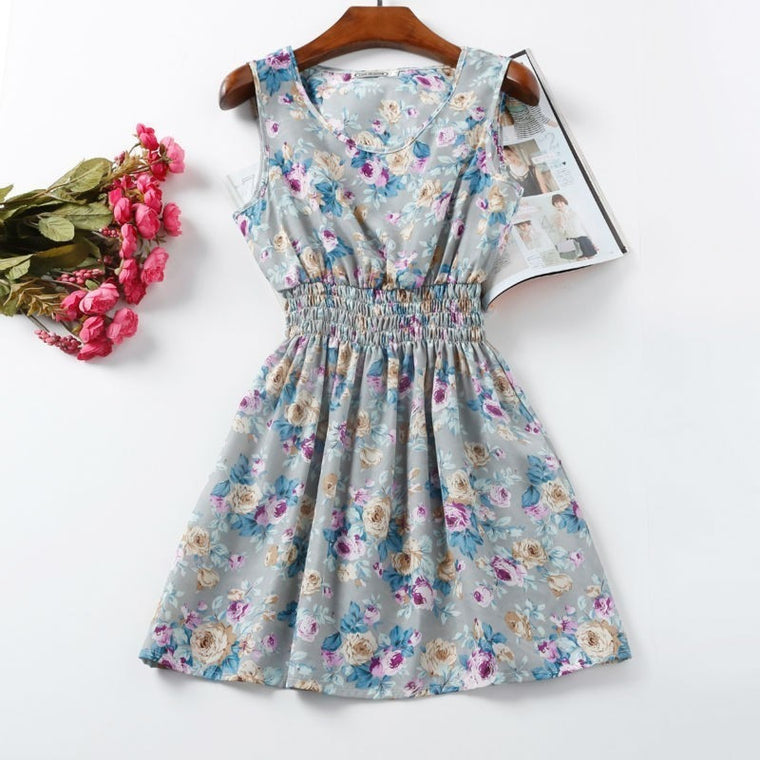 Floral Tank Mini Dress - womozon